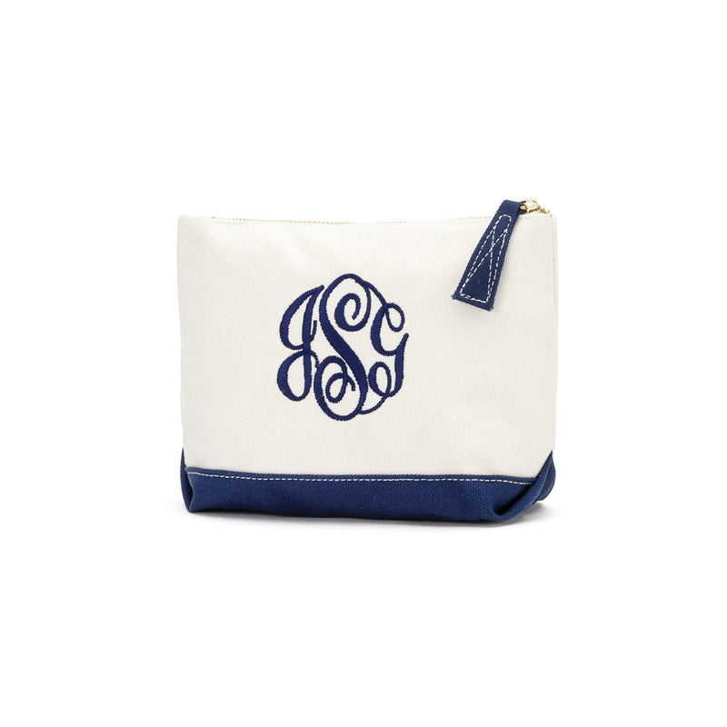 Navy Canvas Cosmetic Bag