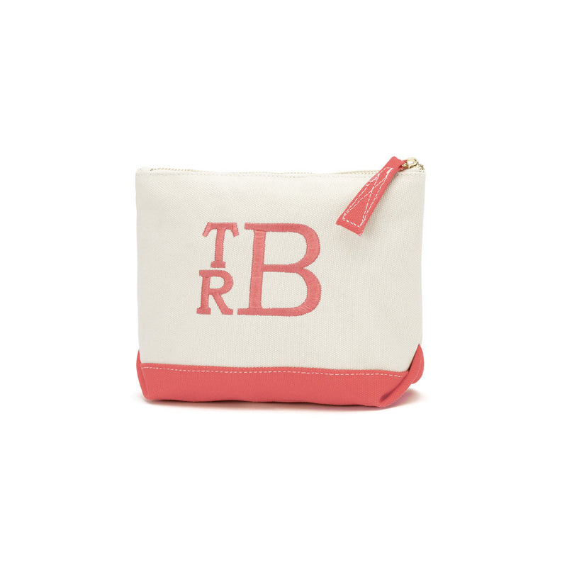 Coral Canvas Cosmetic Bag