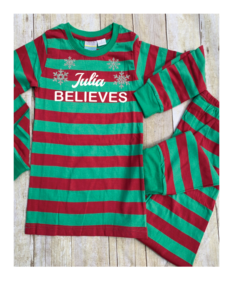 Green and Red Striped Christmas Pajamas
