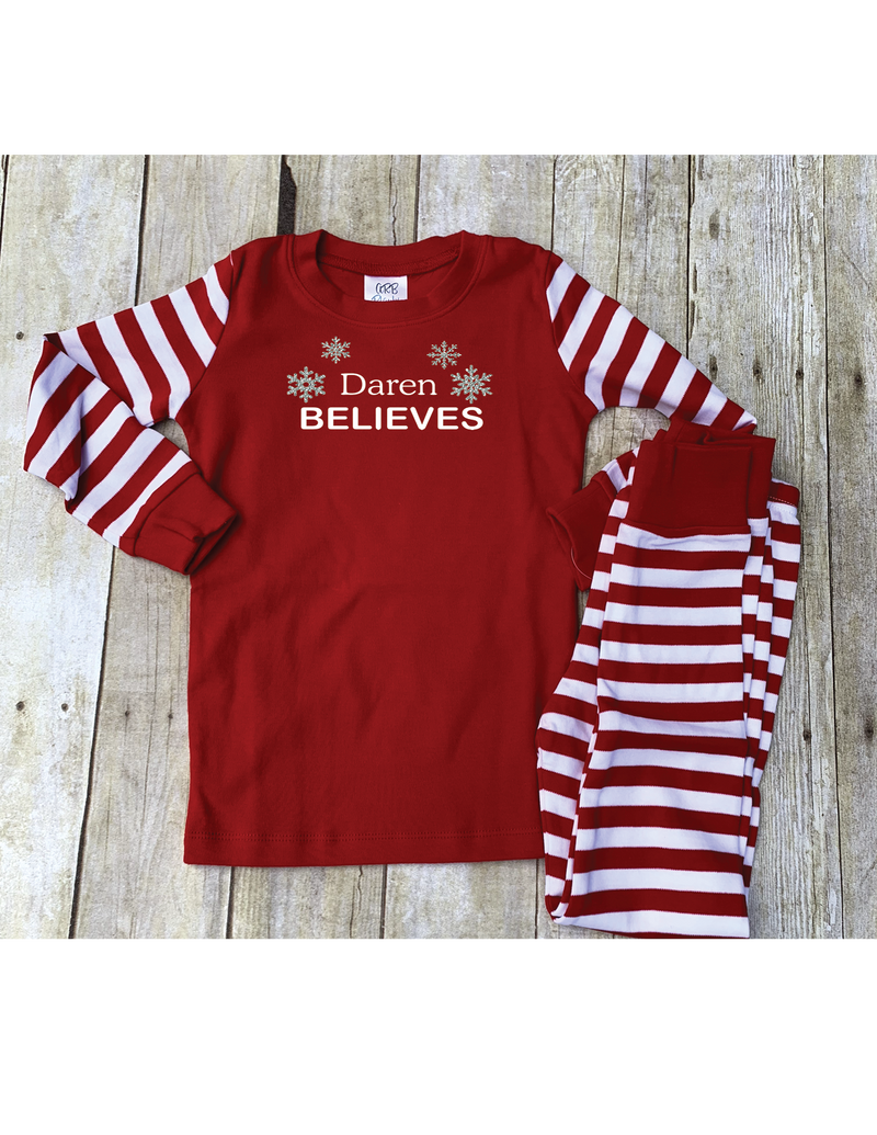 Red and White Skinny Striped Christmas Pajama Set