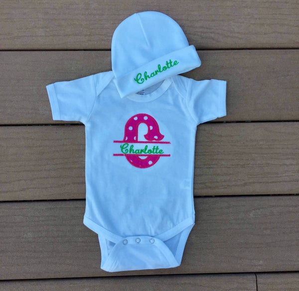 Personalized Short Sleeve Onesie and Beanie Set