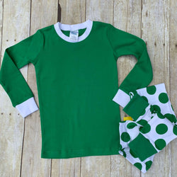 Green and White Polka Dot Personalized Pajama Set