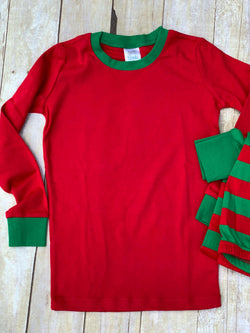 Red Solid Top/Green and Red Striped Pants Holiday Pajamas