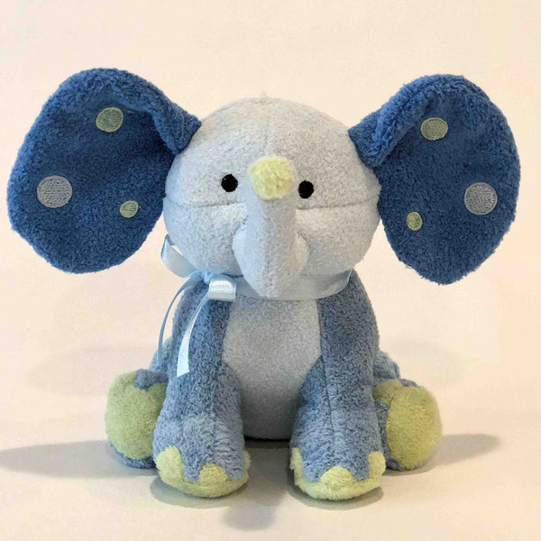 PLUSH BLUE ELEPHANT WITH POLKA DOT EARS