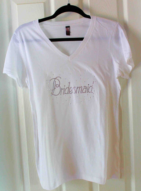 Bridesmaid V-Neck Rhinestone Tee