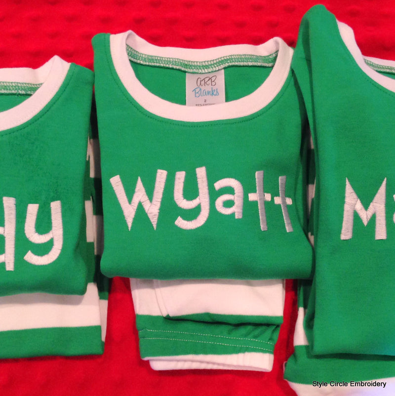 Children's Personalized Green and White Striped Pajamas