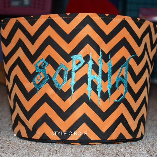 Orange Black Personalized Chevron Halloween Tote