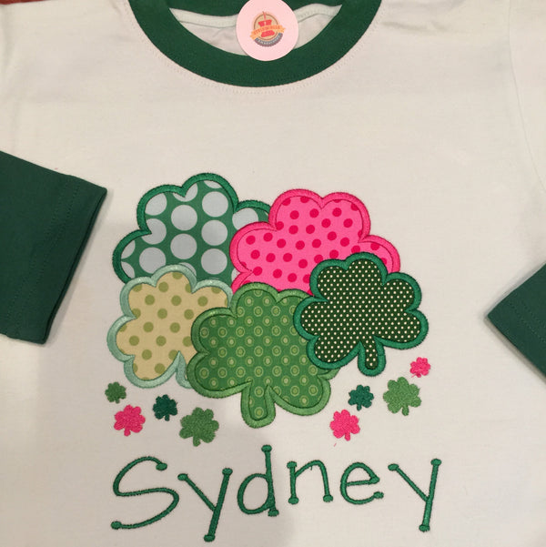 St. Patricks Day Youth Two Tone Green Interlock Long Sleeve Shamrock Shirt