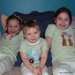 Personalized Green Short Sleeve Children's Pajama Set