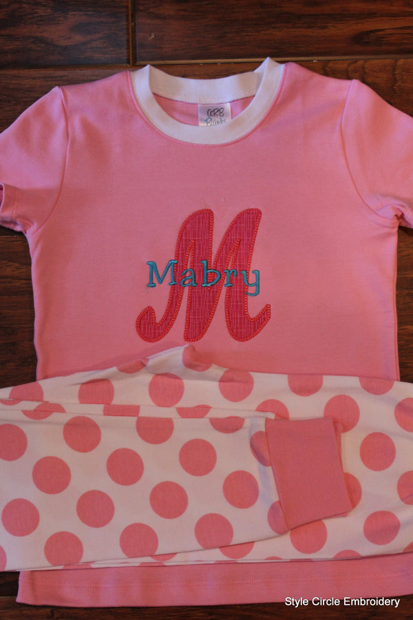 Monogrammed Short Sleeve Girl's Pajama Set