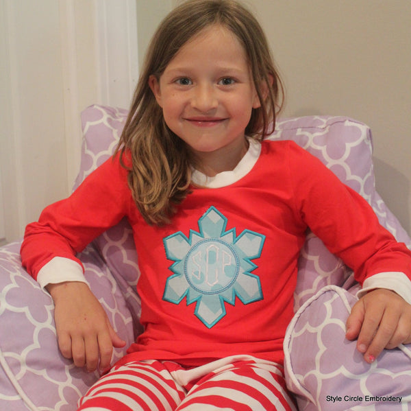 Snowflake Red/White Striped Christmas Pajamas