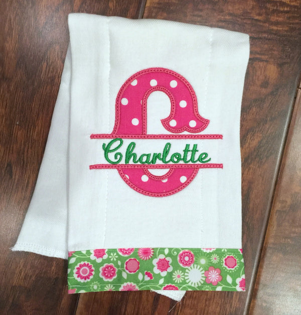 Personalized Handmade Burp Cloth