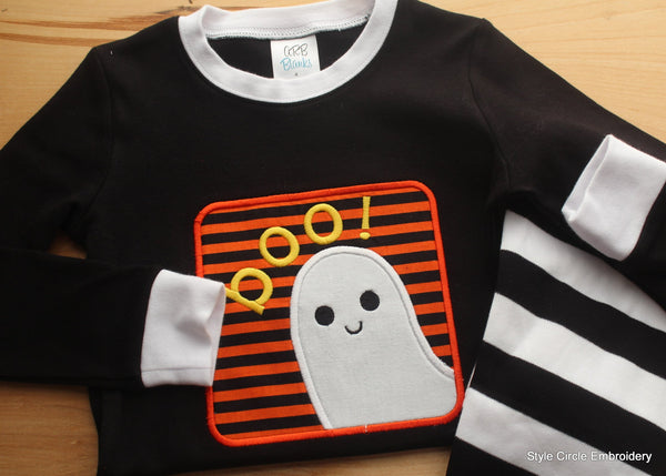 Boo Ghost Children's Personalized Striped Halloween Pajamas