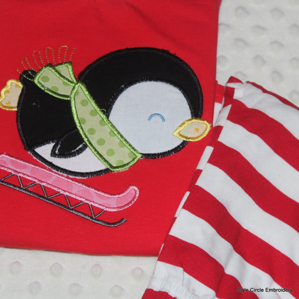 Personalized Penguin Red/White Striped Christmas Pajamas
