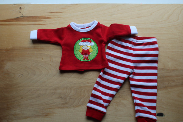 Embroidered Christmas Doll Pajamas