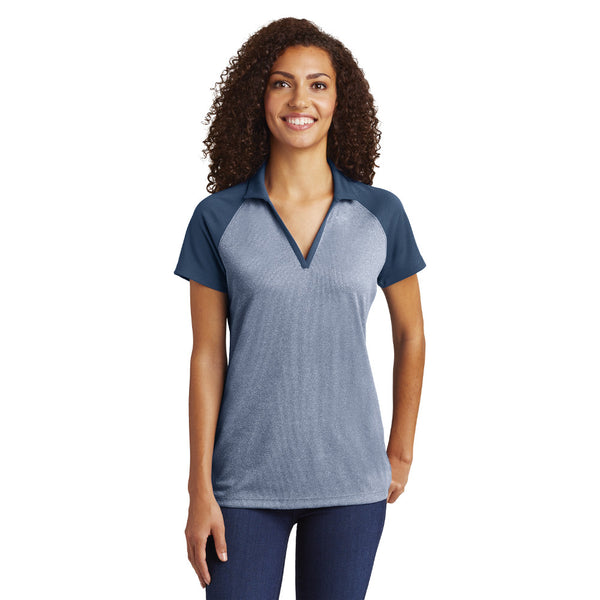 Sport-Tek® Ladies PosiCharge® RacerMesh® Raglan Heather Block Polo