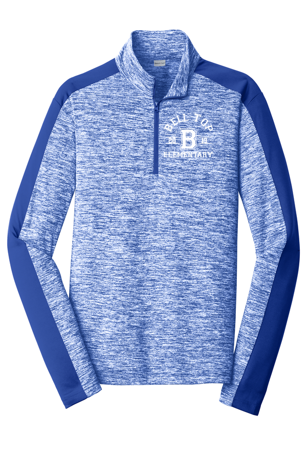 Bell Top Sport-Tek® PosiCharge® Adult Electric Heather Colorblock 1/4-Zip Pullover