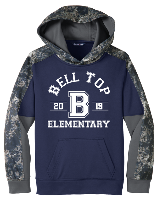 Bell Top Sport-Tek® Youth Sport-Wick® Mineral Freeze Fleece Colorblock Hooded Pullover