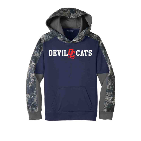 Devil Cats Sport-Tek® Youth Sport-Wick® Mineral Freeze Fleece Colorblock Hooded Pullover