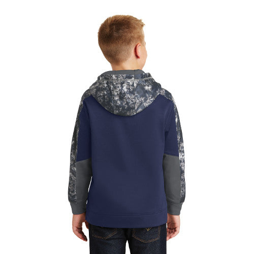 Sport-Tek® Youth Sport-Wick® Mineral Freeze Fleece Colorblock Hooded Pullover