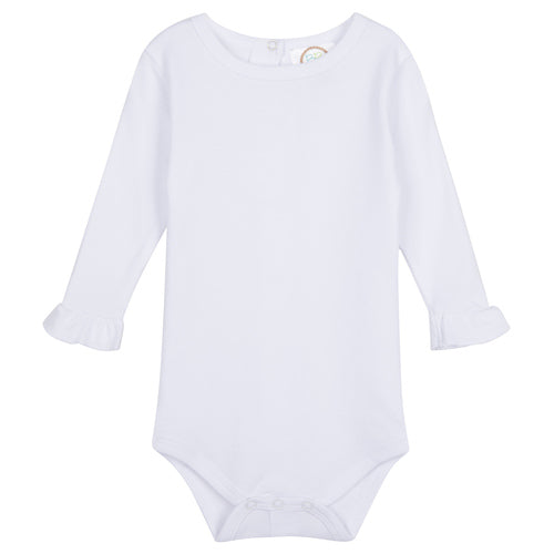 Blank Girl's Long Sleeve Ruffle Infant Bodysuit