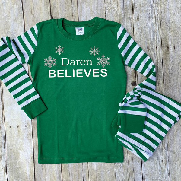 Green and White Skinny Striped Personalized Christmas Pajamas