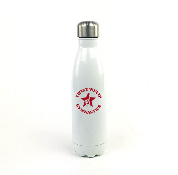 Twist 'N Flip White Tapered Stainless Steel Water Bottle
