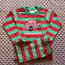 Children's Personalized Pickup Truck Holiday Pajamas