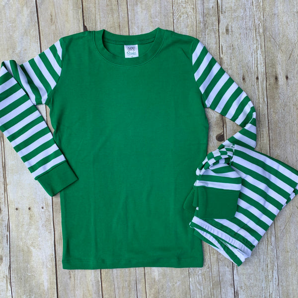 Green and White Striped Pajama Set