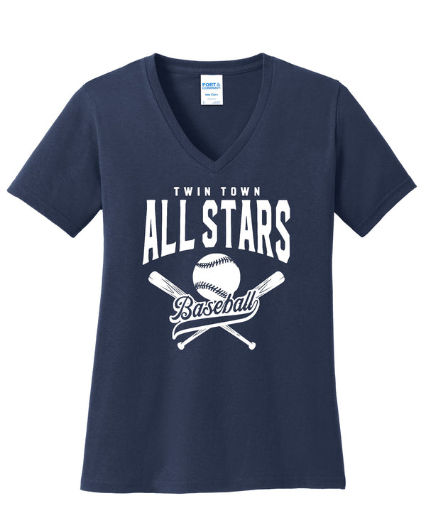 All Stars Port & Company® Ladies Core Cotton V-Neck Tee
