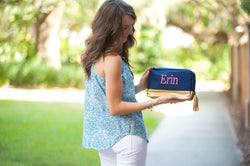 Navy Cabana Cosmetic Bag