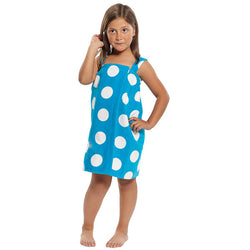 Girl's Terry Velour Polka Dot Printed Swim Coverup