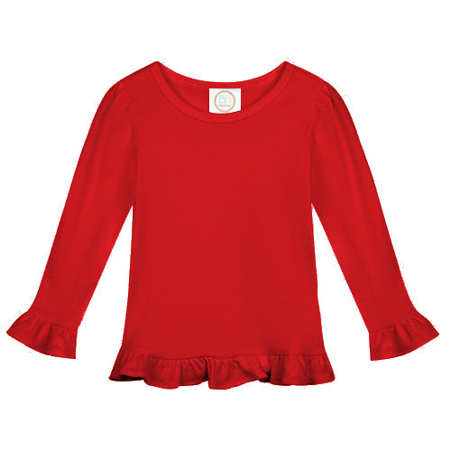 Blank Long Sleeve Cotton Ruffle Tee