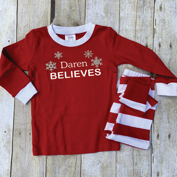 Red and White Thick Striped Personalized Christmas Pajama Set - Youth and Adult