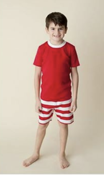Red and White Striped Short Sleeve with Short Christmas Pajama Set