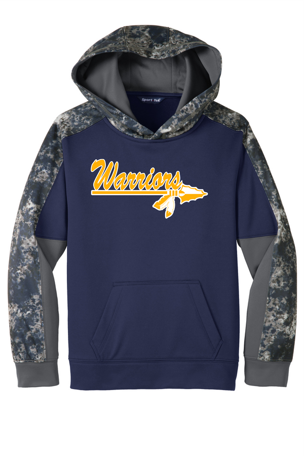 Warriors Sport-Tek Youth Sport-Wick Mineral Freeze Fleece Colorblock Hooded Pullover