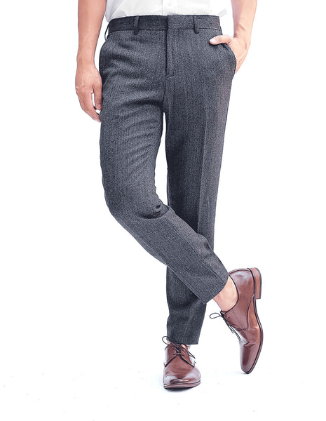 Grey Herringbone Skinny Athletic Wool Dress Pants Cross