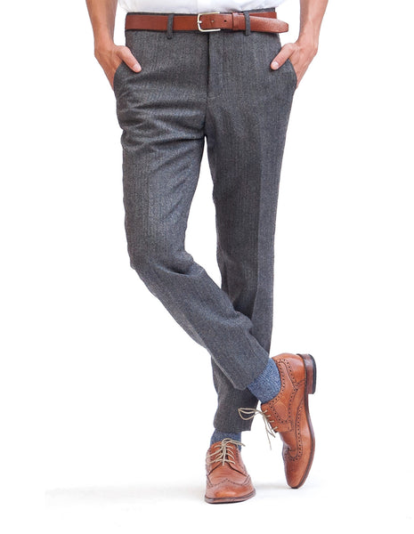 Grey Herringbone Skinny Wool Dress Pants Cross