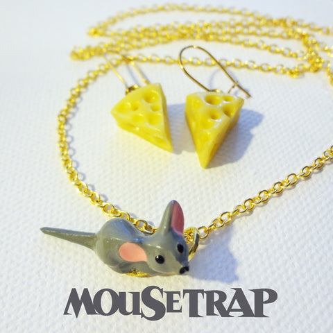 Mousetrap Earrings & Necklace