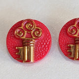 Red / Key with gold lustre / Vintage Glass