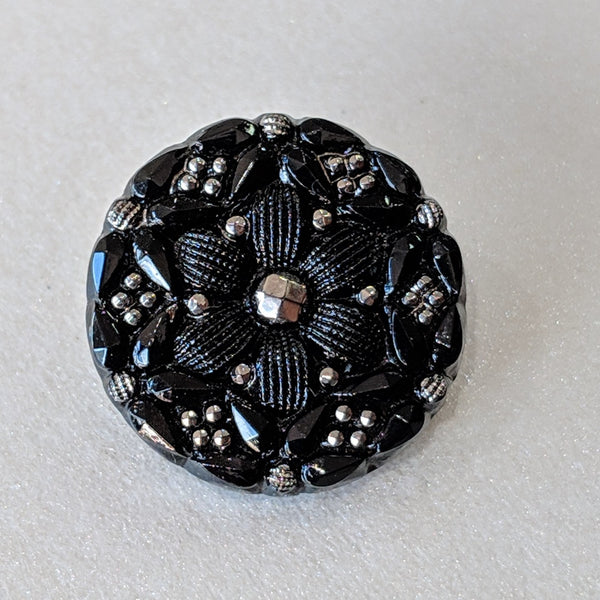 Black with Silver Lustre / Flower / Glass