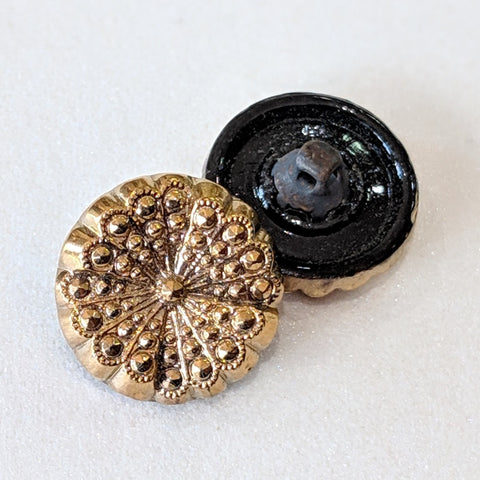 Black Glass with Gold Lustre / Flower / Glass