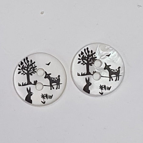 Deer Rabbit and Tree / Shell / 2 Hole