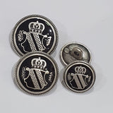 Blazer Buttons with Shield / Antique Silver / Black Epoxy
