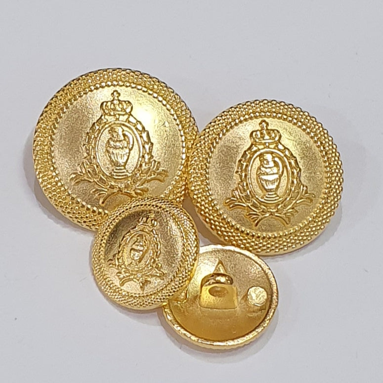 With Shank Gold Plastic Crested Blazer Buttons 3 Sizes 15mm 18mm 21mm
