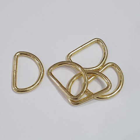 Gold D Rings - 25mm