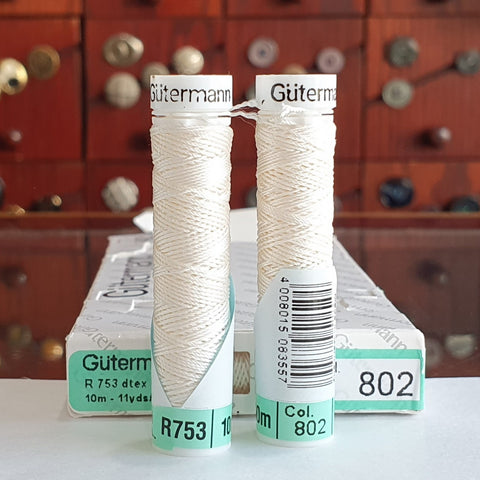 Ivory -  Gutermann Buttonhole Silk Twist / 10m spool