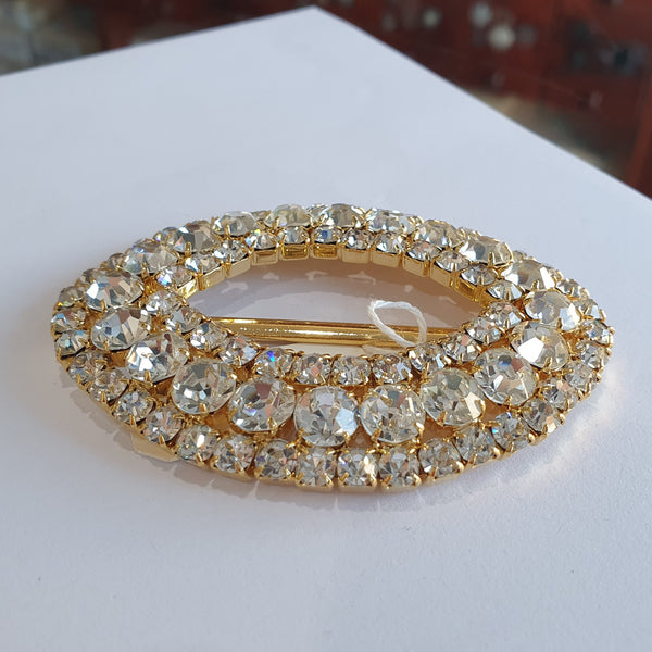 Large Gold & Diamante Buckle