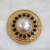 Vintage Gold Pearl Centre / Black Diamante / Metal
