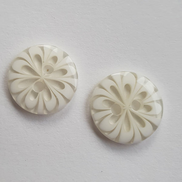Clear & White Flower Buttons - 2 Hole